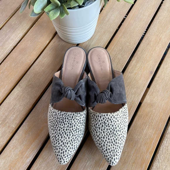 Caslon Luke knotted spotted grey mule 6.5